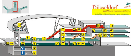 Dusseldorf International Airport.  Европа.  Схема терминала B аэропорта Дюссельдорфа.